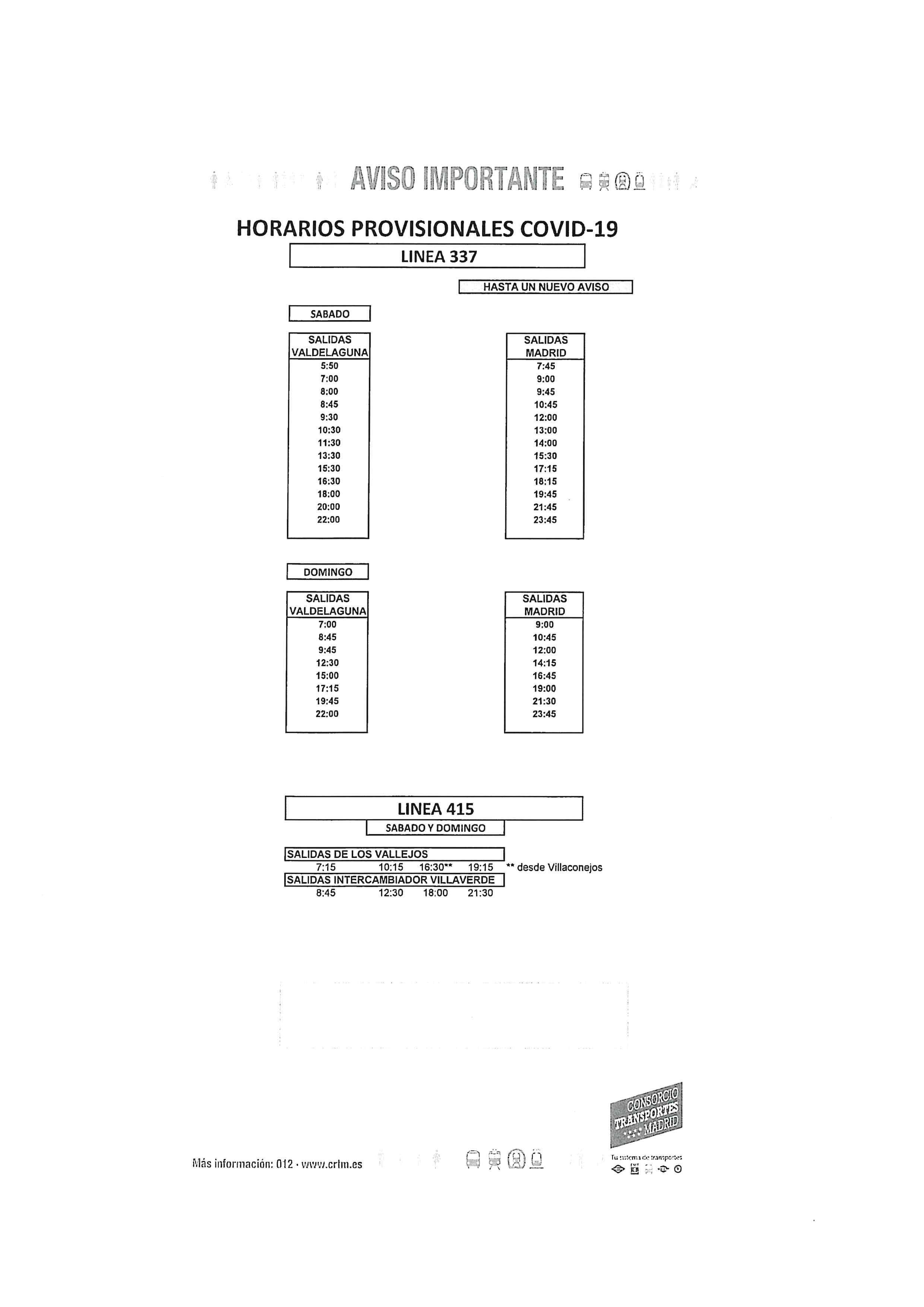 1-AVISO HORARIOS COVID-19 LINEAS 336-337-415 - SABADOS Y DOMINGOS